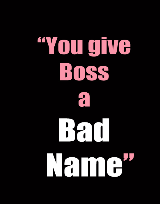 You give Boss a Bad Name!